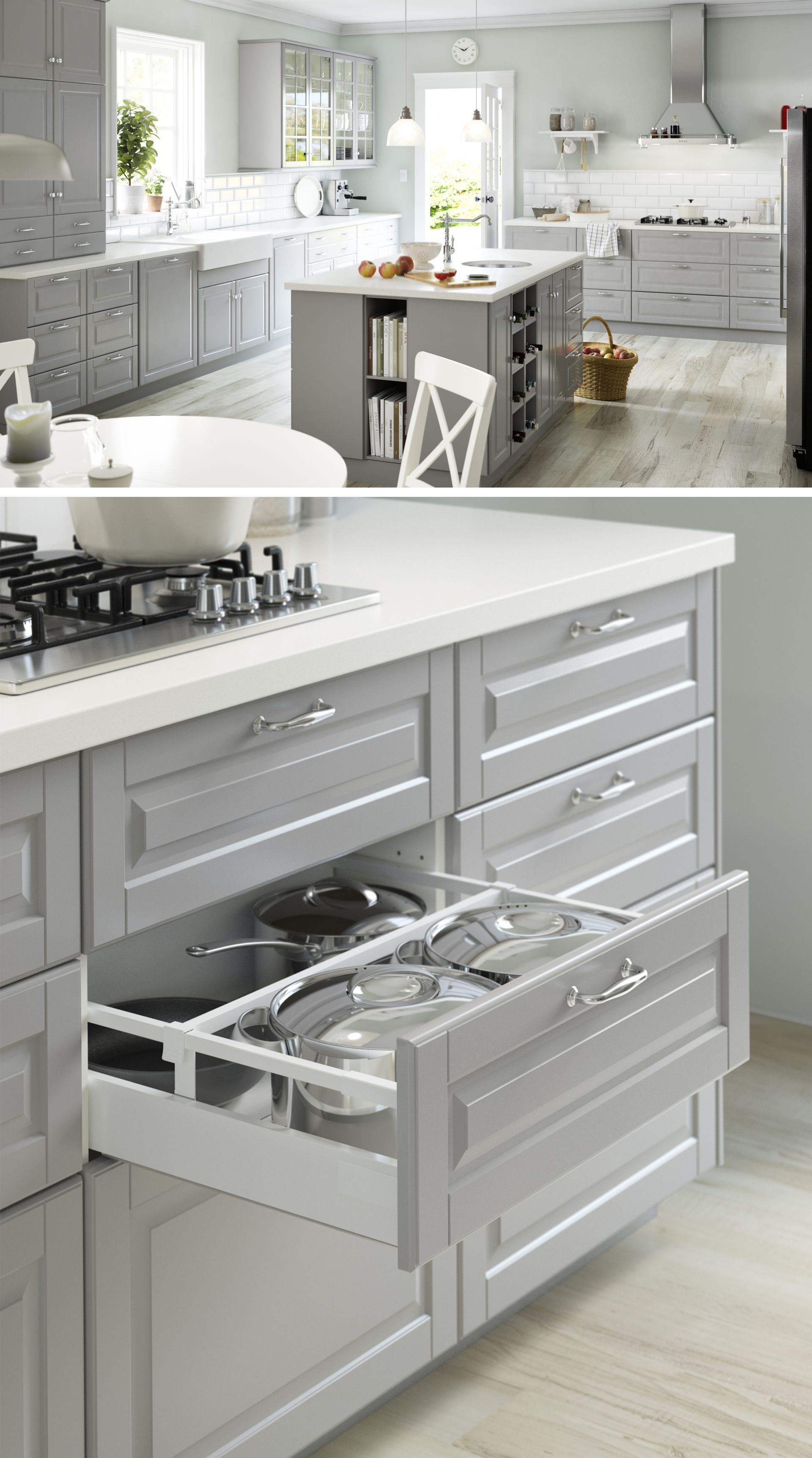 20+ Gorgeous Gray and White Kitchens | Grey kitchen island, Gray ...