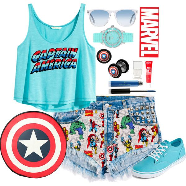 Marvel by annetkor on Polyvore featuring мода, H&M, Vans, Versus, Oliver Peoples, Vincent Longo, claire's, Nails Inc., denim and marvel