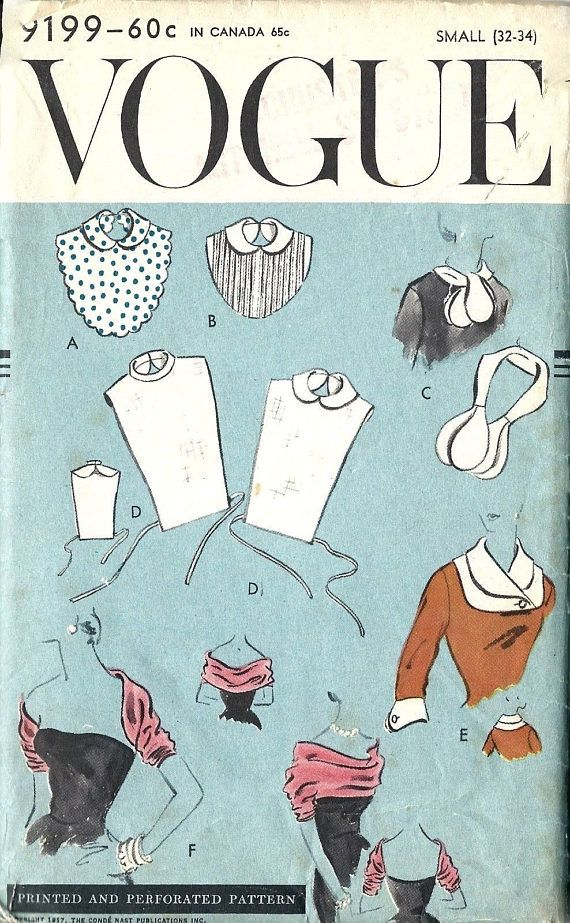 Vintage 1950s Sewing Pattern Dickey Peter Pan Collar Sewing