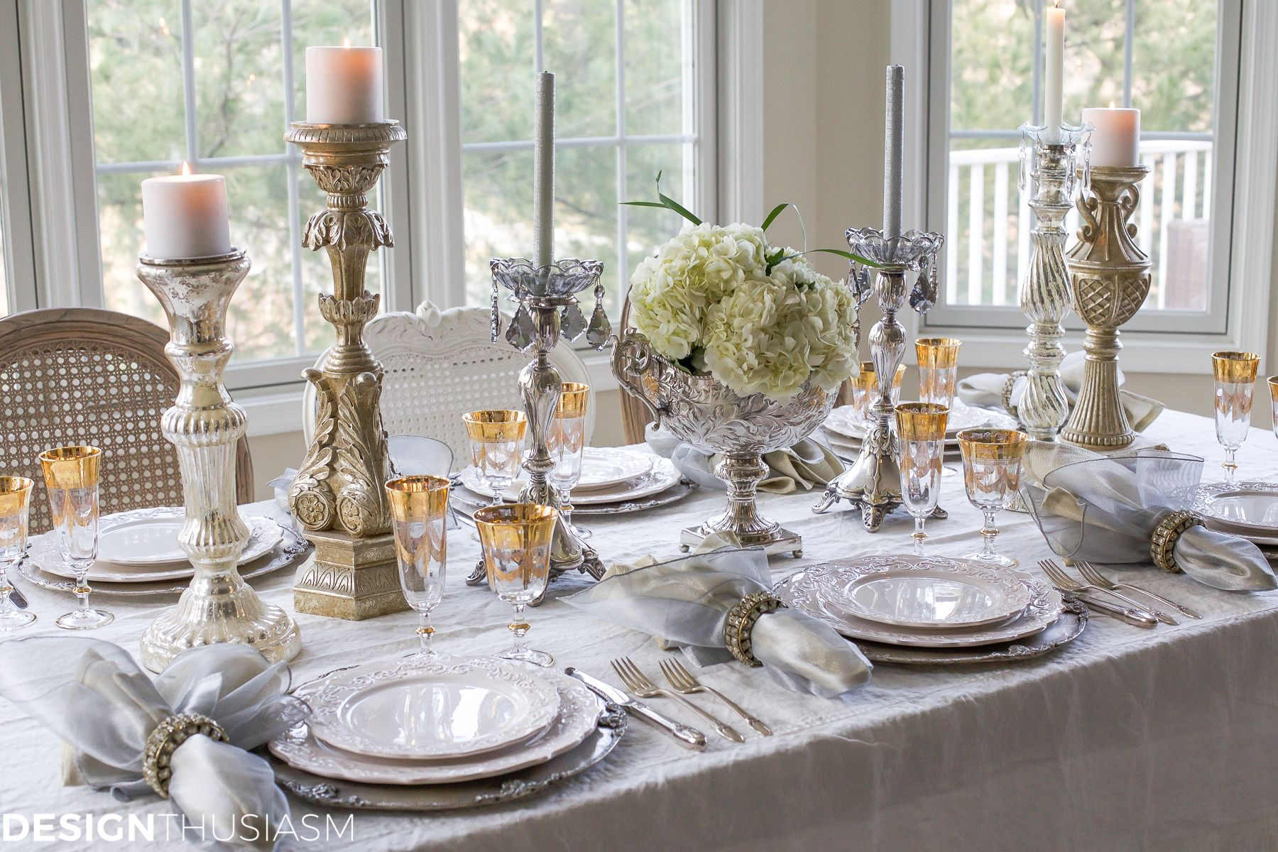 Attractive New Yearu0027s Day Brunch Table Setting Mixing Gold And Silver Good Looking