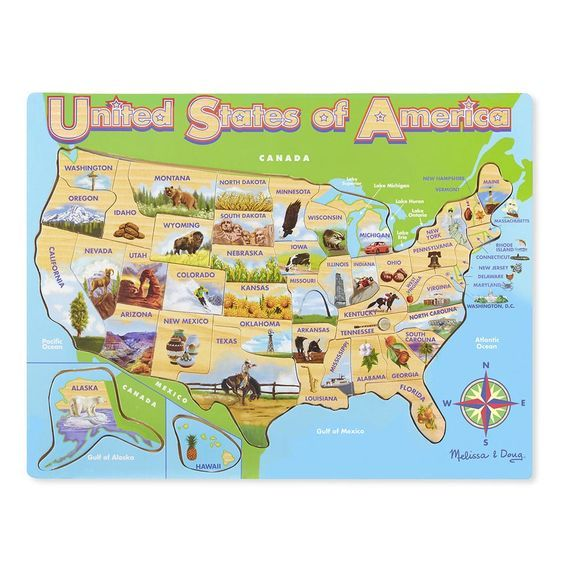 USA Map Wooden Jigsaw Puzzle | 2017 Corinne xmas | Pinterest ...