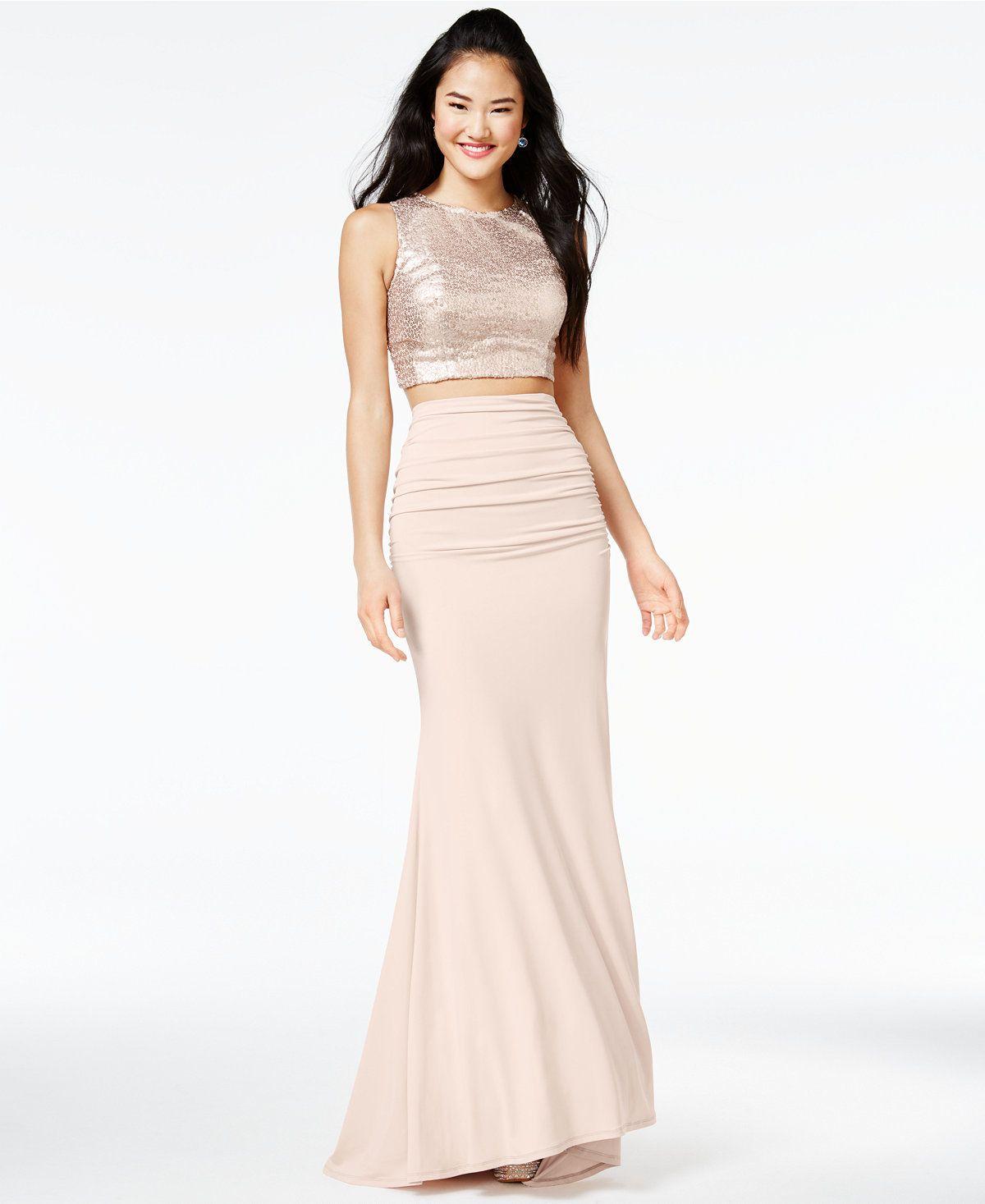094c6ab3af City Studios Juniors  2-Pc. Sequined Gown - Juniors Dresses - Macy s ...