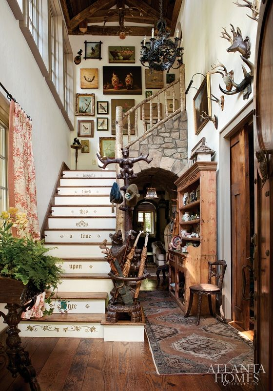 home tour a beautiful fairy tale inspired mountain home stairway rh pinterest com