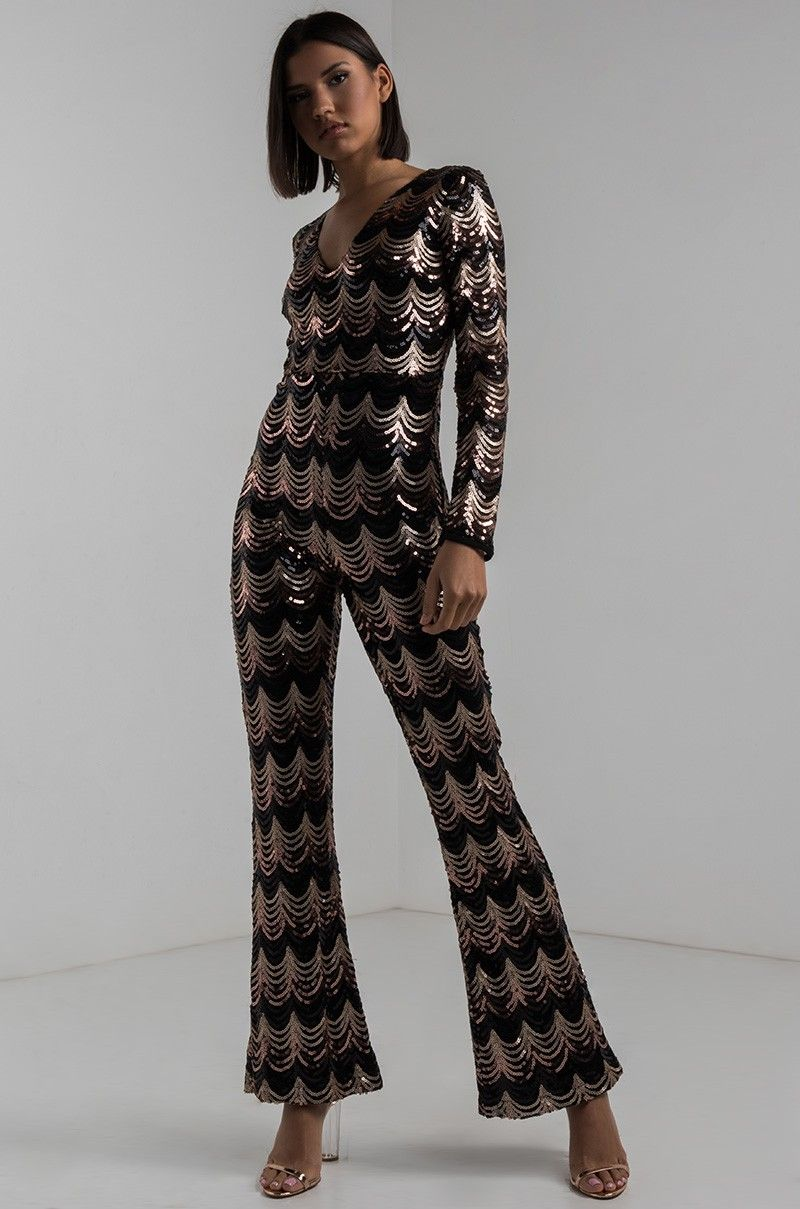 74f53ebd5b48 Front View Chop It Up Longsleeve Sequin Jumpsuit in Black