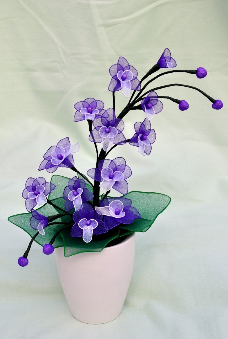 purple orchid stem by DennysKraftKorner on Etsy
