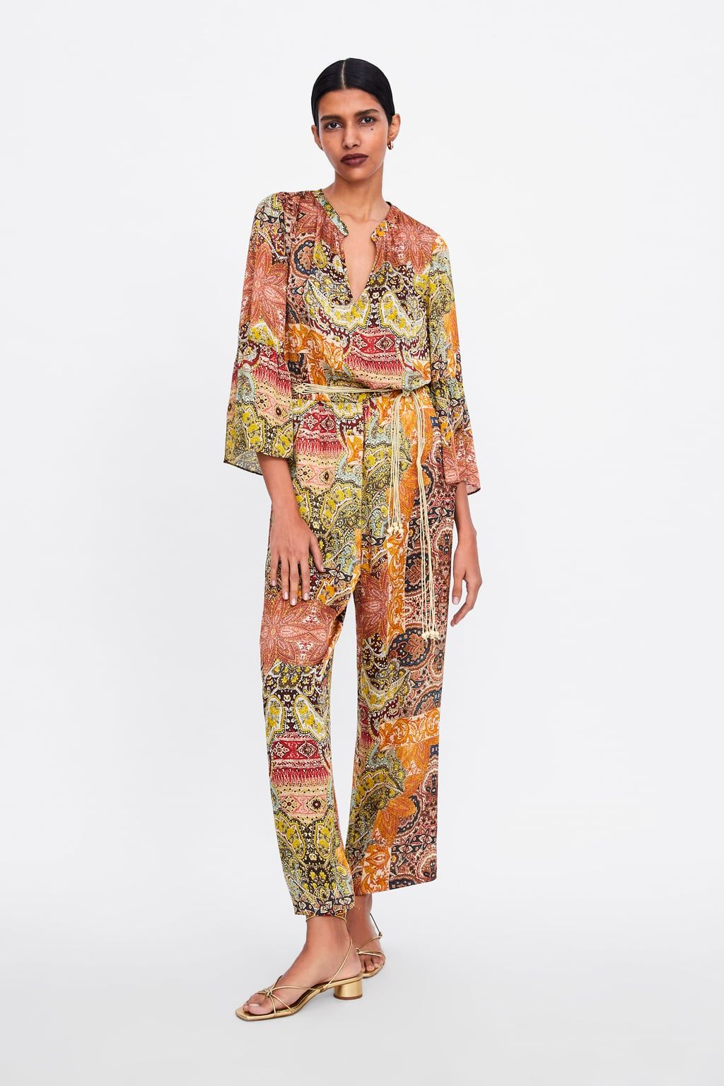 8e1b49d430 Printed jumpsuit with belt in 2019 | Zara | Jumpsuit, Suede jumpsuit ...