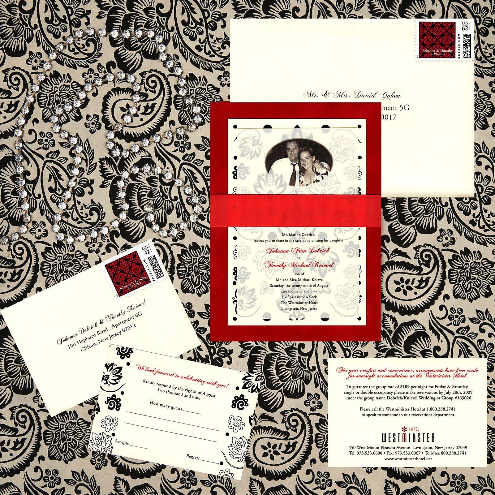 three layer wedding invitation, red velvet paper, ivory metallic ...
