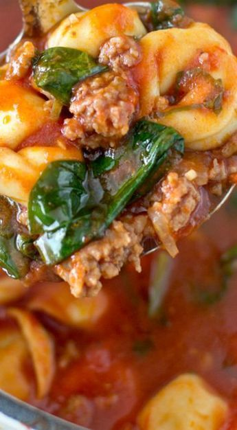 Photo of Tortellini Soup with Italian Sausage & Spinach | YellowBlissRoad.com