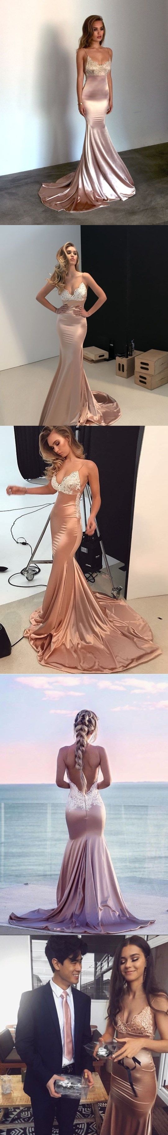 Open back prom dresses trumpet mermaid spaghetti straps long sexy