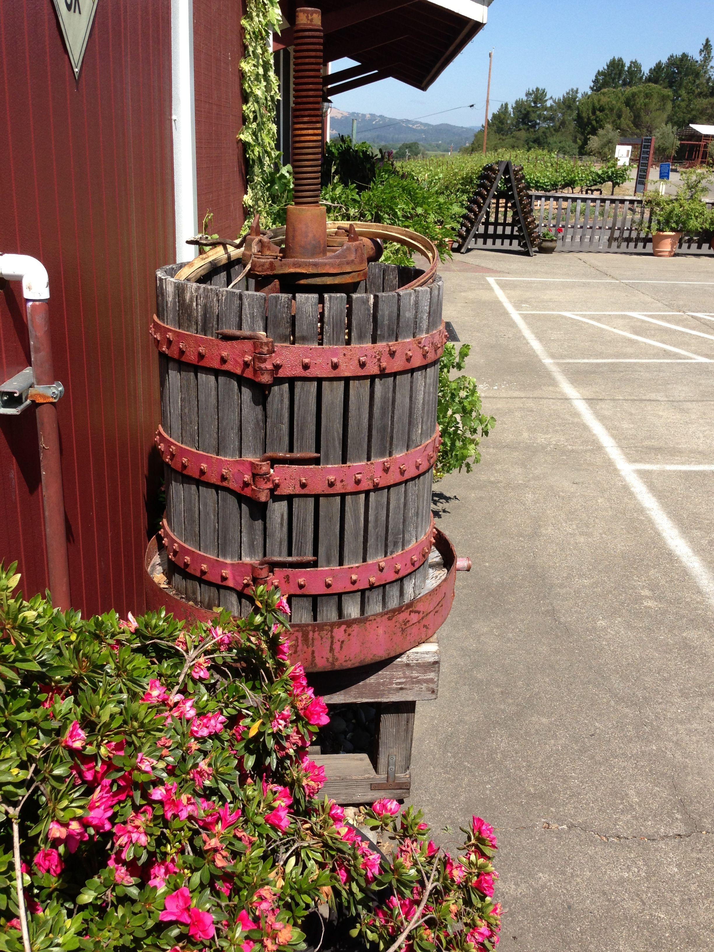 Old Wine Press Papapietro Perry Winery Sonoma County Healdsburg California Wine County Dry Creek Valley Ava Wine Press Healdsburg California Healdsburg
