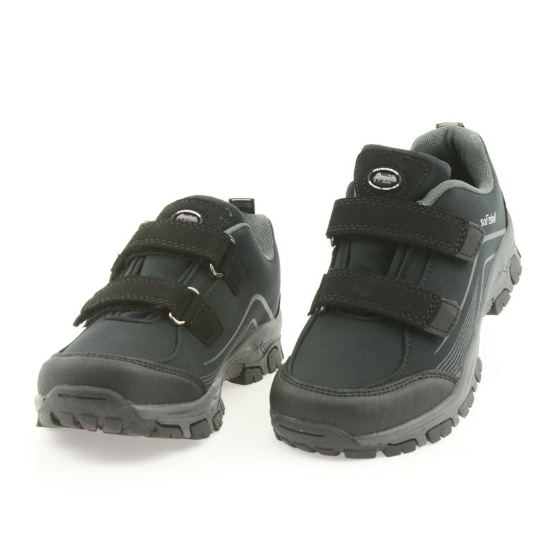Adi Sportowe Buty Dzieciece Softshell American Club Czarne Szare Childrens Shoes Kid Shoes Trekking Shoes