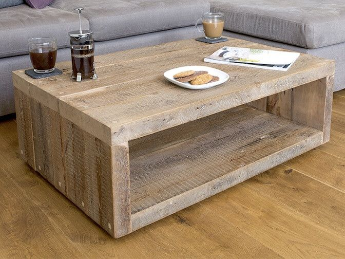 Qube Reclaimed Wood Rustic Coffee Table | Eat Sleep Live