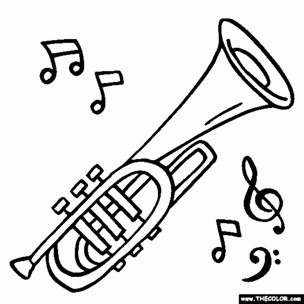 Music Instrument Coloring Pages With Books And Beautiful