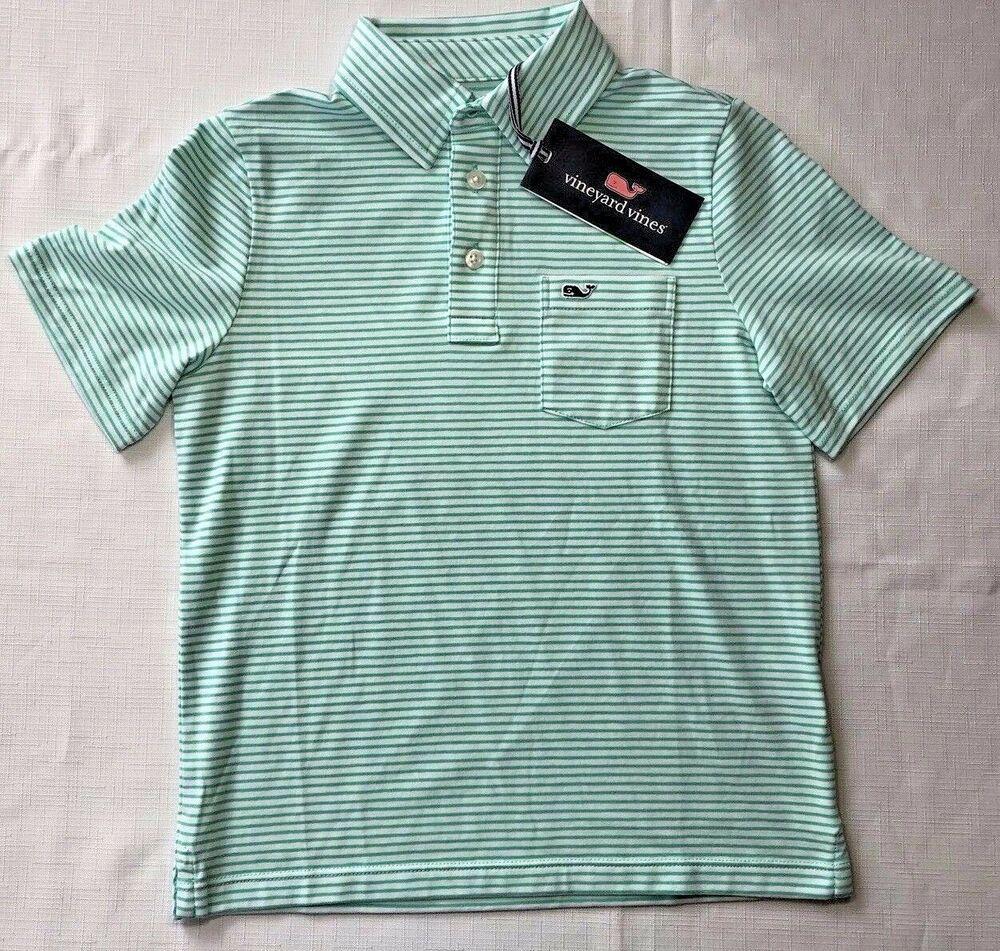 0a4d153eb NWT Vineyard Vines Boys 5 or 7 Green Striped Edgartown Polo Shirt Capri  Blue  VineyardVines