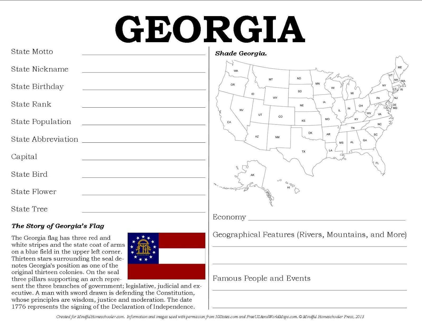 Free State Info Printables