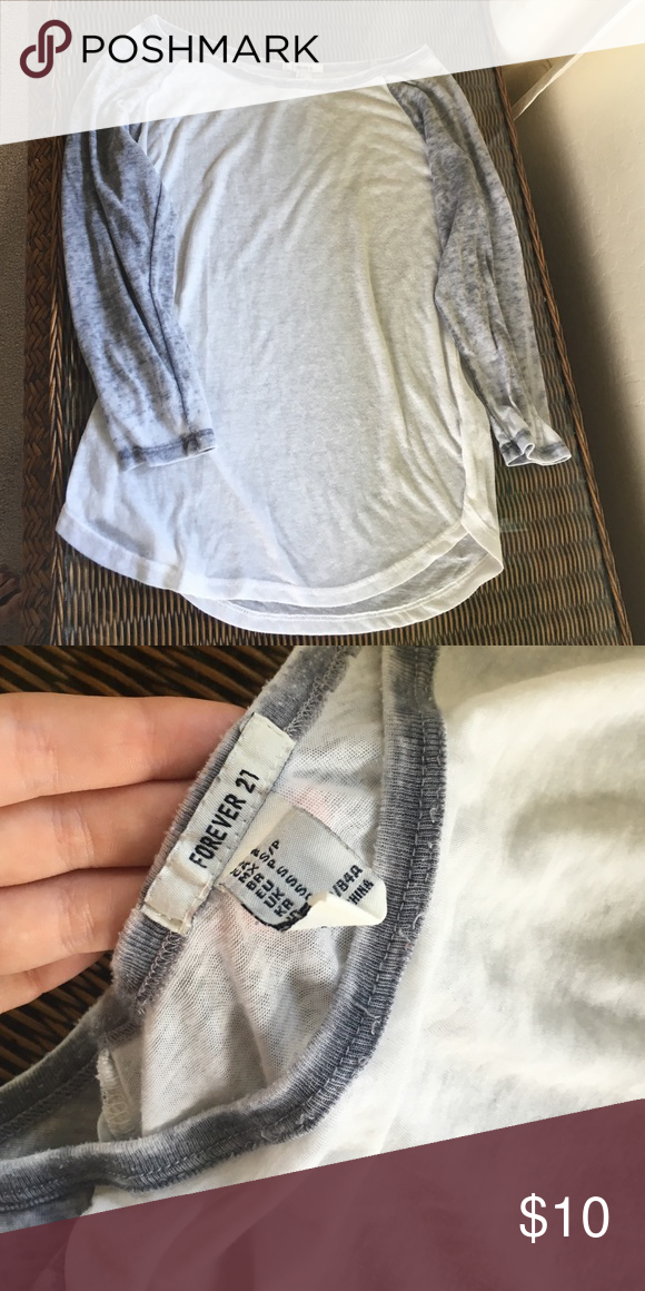 Baseball tee Grey and white from forever 21 Forever 21 Tops Tees - Long Sleeve