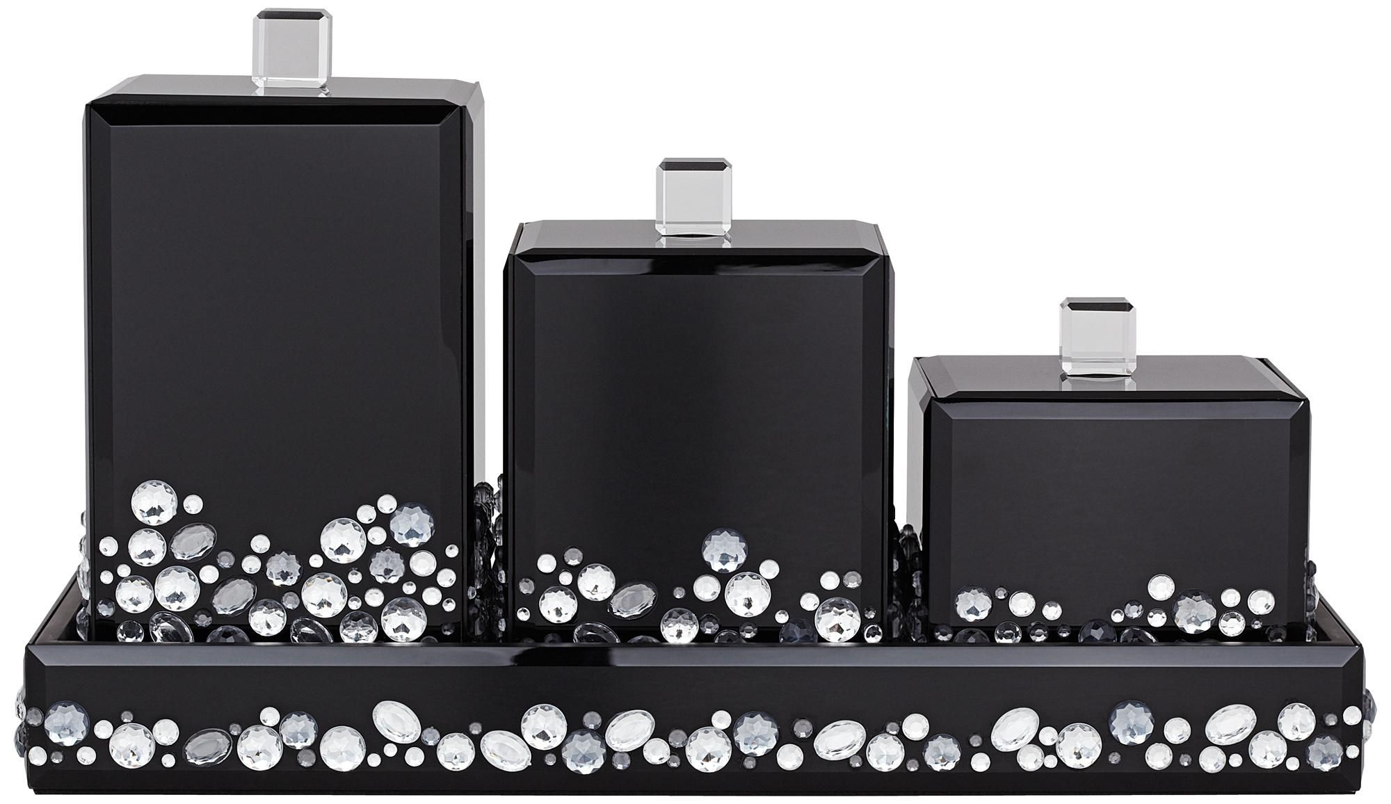 Jeweled Black Mirror Canister Bathroom Accessory Set | Black ...