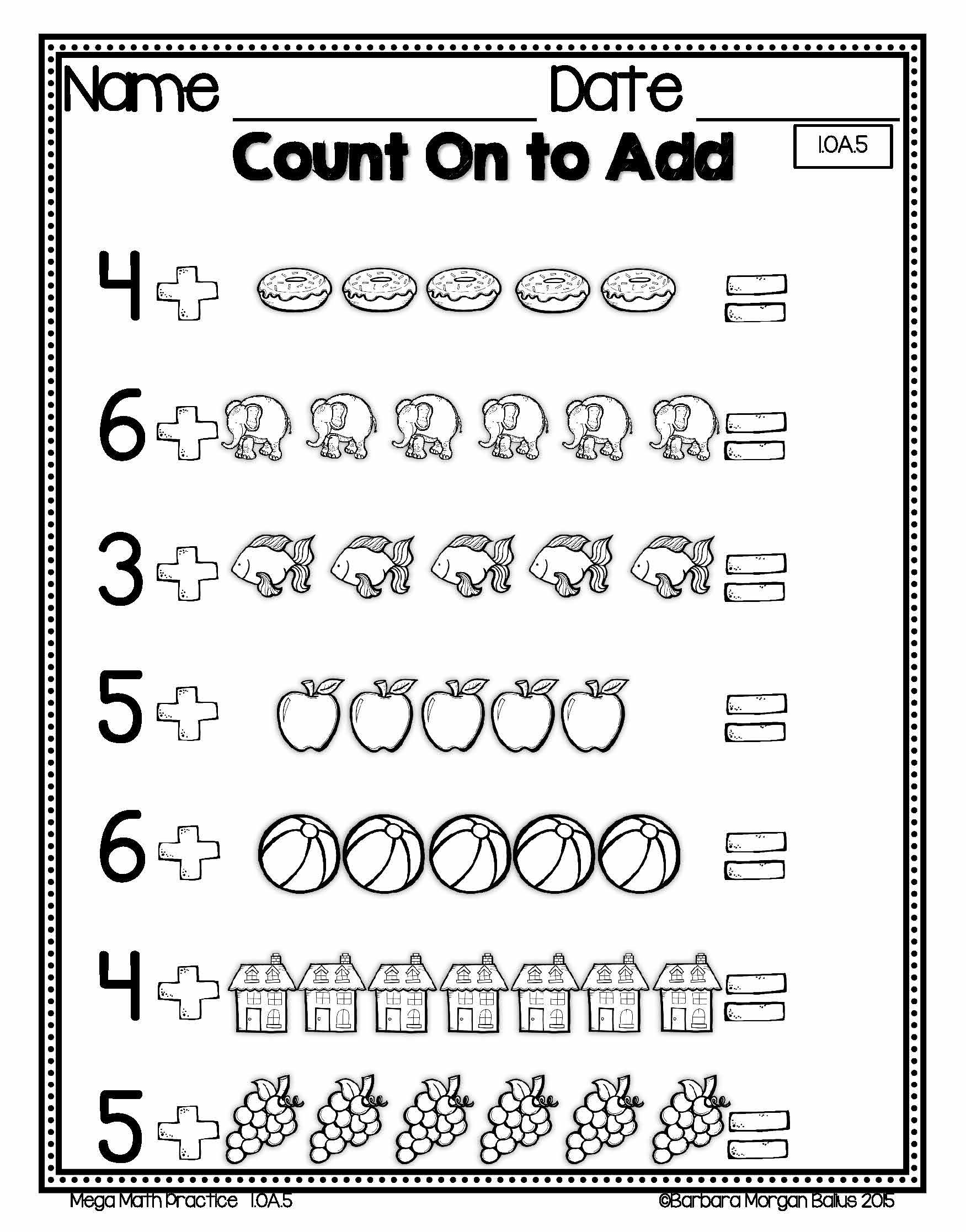 Countng On And Counting Back First Grade Mega Math