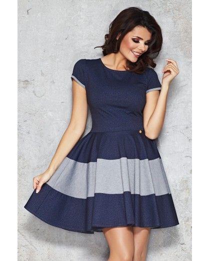 Modré riflové šaty M038