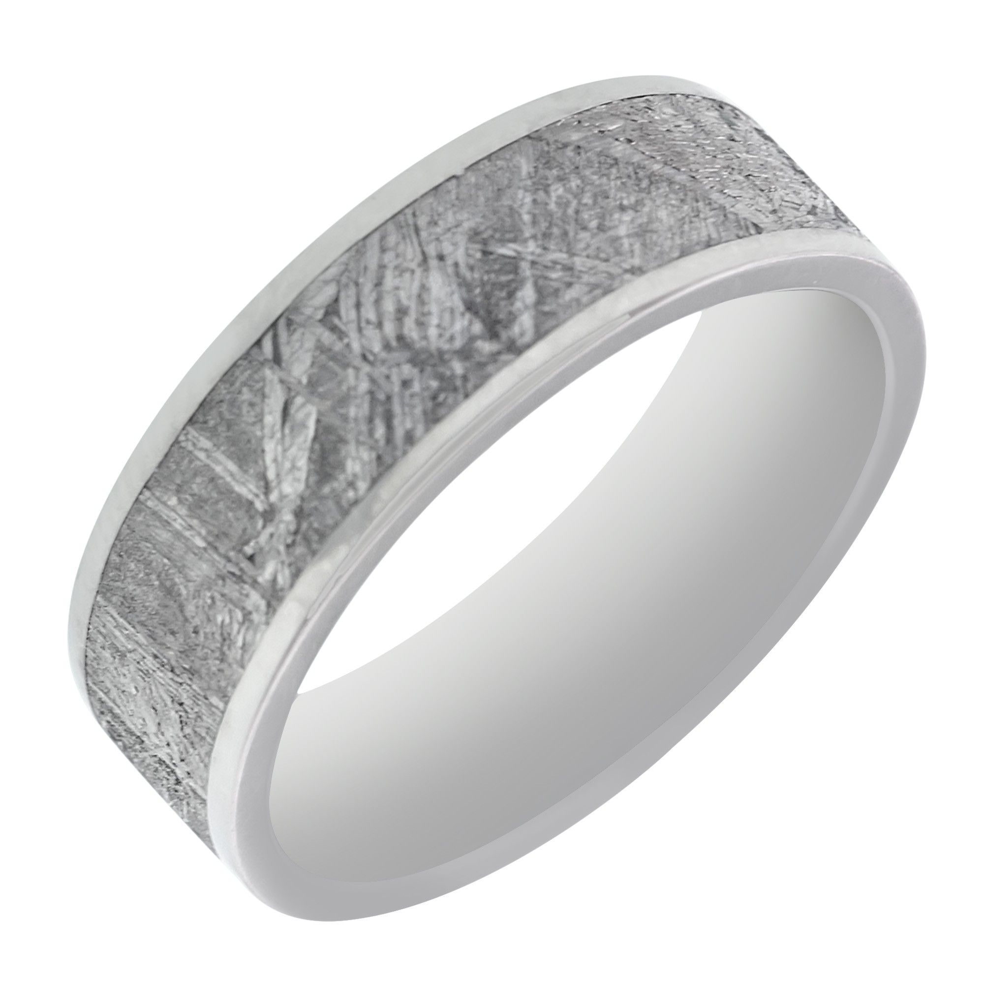 This Unique Mens Meteorite In Titanium Wedding Band Is A One Of Kind Piece Art It Features Lined Crystaline Over Surface