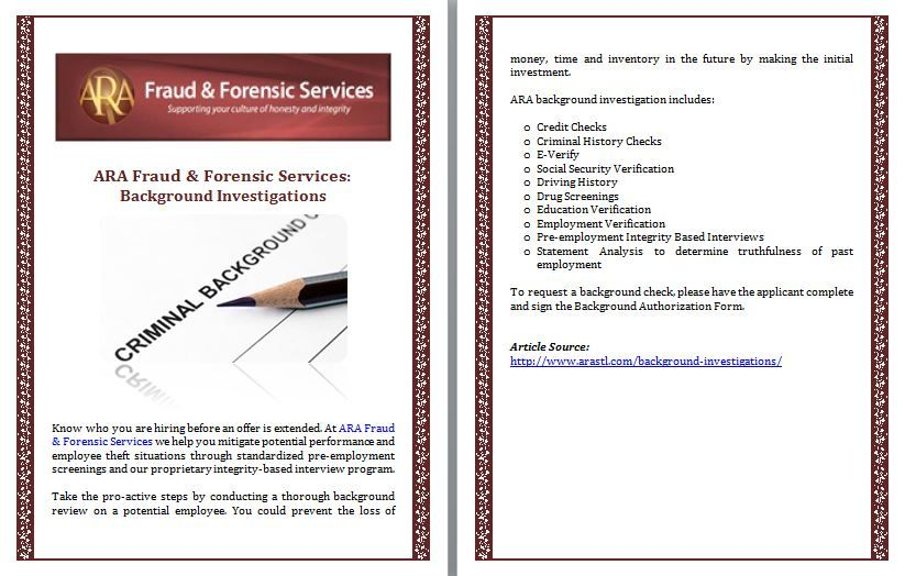 ARA Fraud  Forensic Services Background Investigations ARA Fraud - Forensic Report