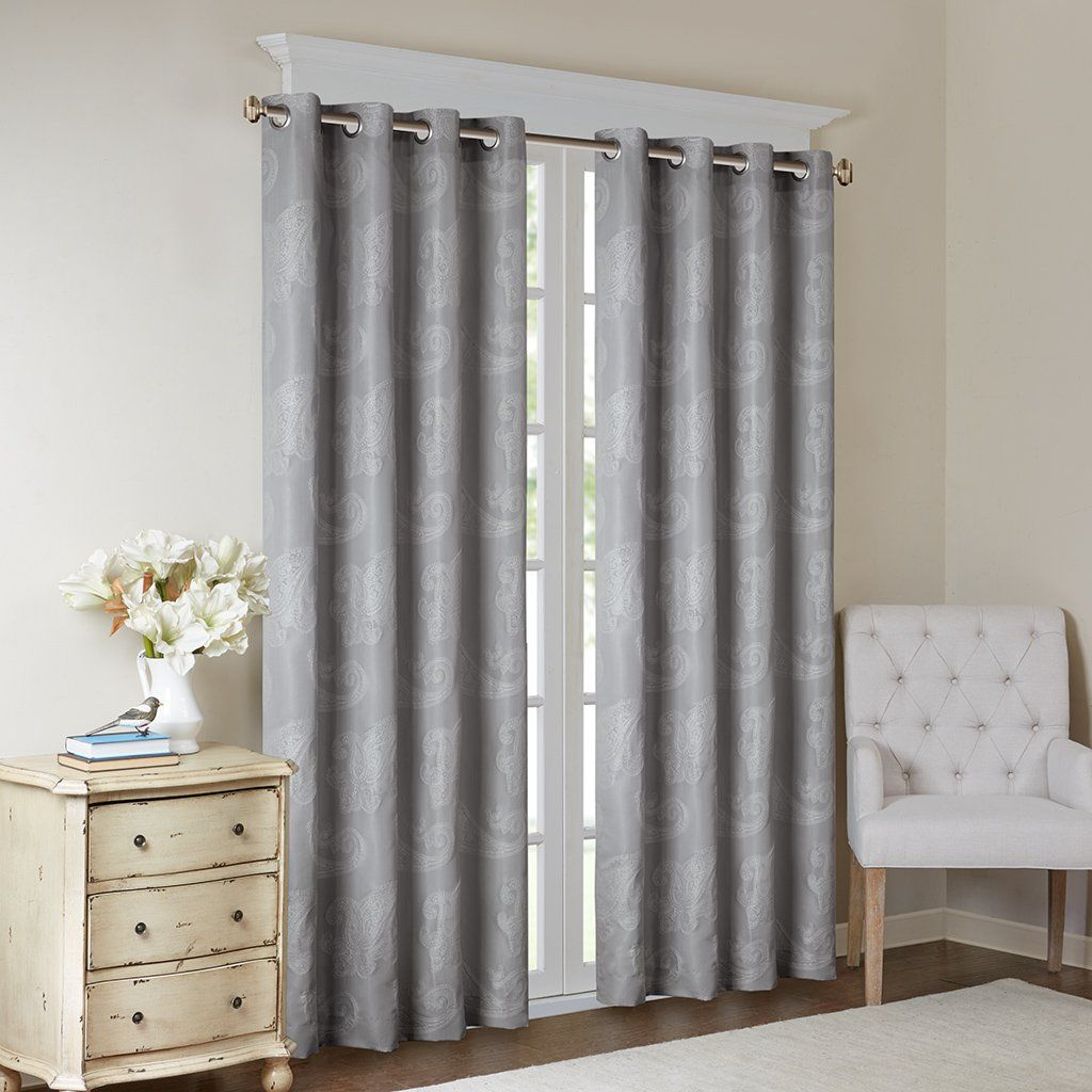 Madison Park Grey Grommet Curtains For Living Room Arabella Jacquard Window Curtains For Bedroom Polyester Transit Curtains Living Room Panel Curtains Curtains
