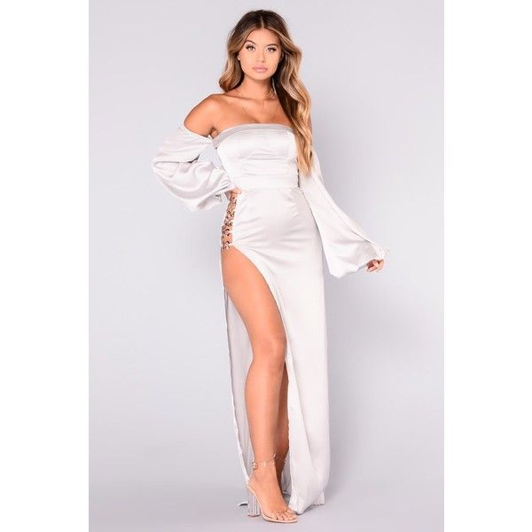 Off the Shoulder Satin Dress Silver