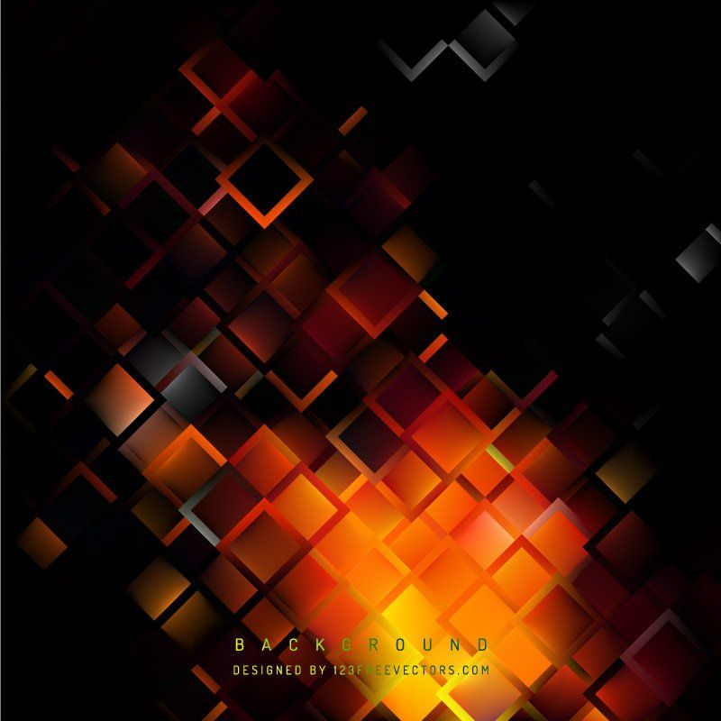 Abstract Black Orange Fire Geometric Square Background
