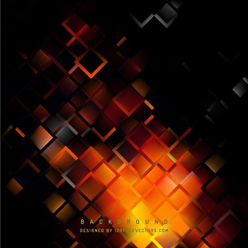 Abstract Black Orange Fire Geometric Square Background Abstract Background Free Vector Backgrounds