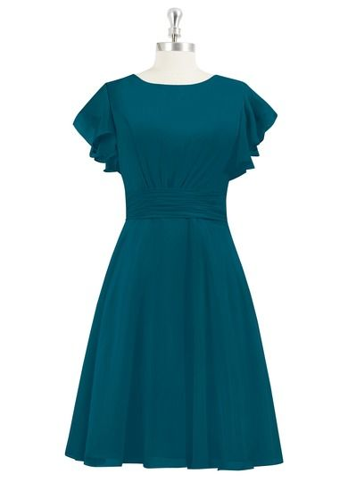 AZAZIE KAYLEN. Fun and flirty, this concise chiffon bridesmaid dress is appropriate for any wedding from the beach to the church. #Bridesmaid #Wedding #CustomDresses #AZAZIE