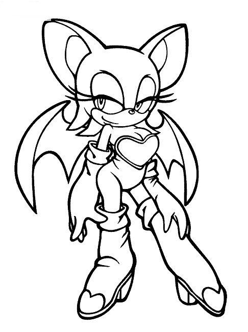 Sonic Coloring Pages Rouge Bat Coloring Pages