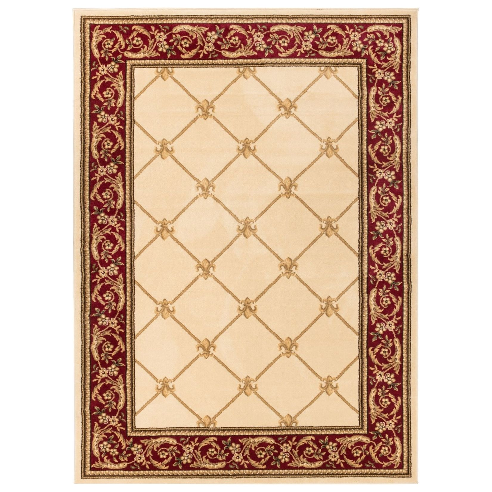 Well-woven Vanguard Fleur-de-lis Trellis Lattice French European Classic Traditional Dinging Living Room Area Rug