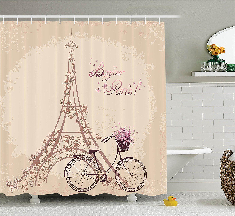 Amazon Com Ambesonne Paris Decor Collection Bonjour Paris Eiffel Tower And Vintage Bicycle With Flowers Decor Collection Paris Decor Modern Shower Curtains
