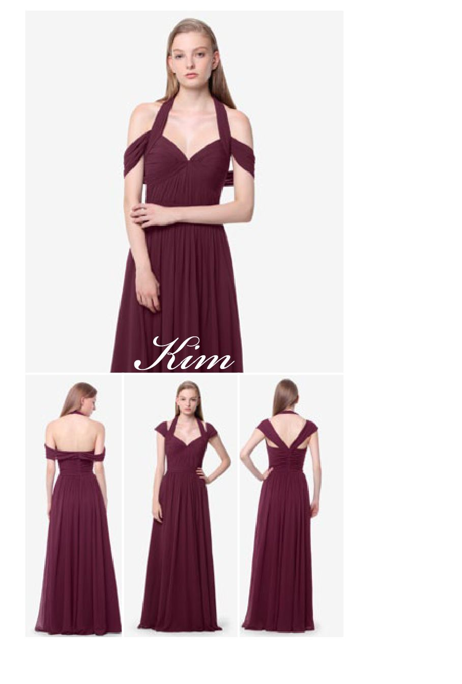 Kim bridesmaid gown in Raspberry.  Wear it with draped sleeves or cap sleeves.  By David Tutera for Gather & Gown