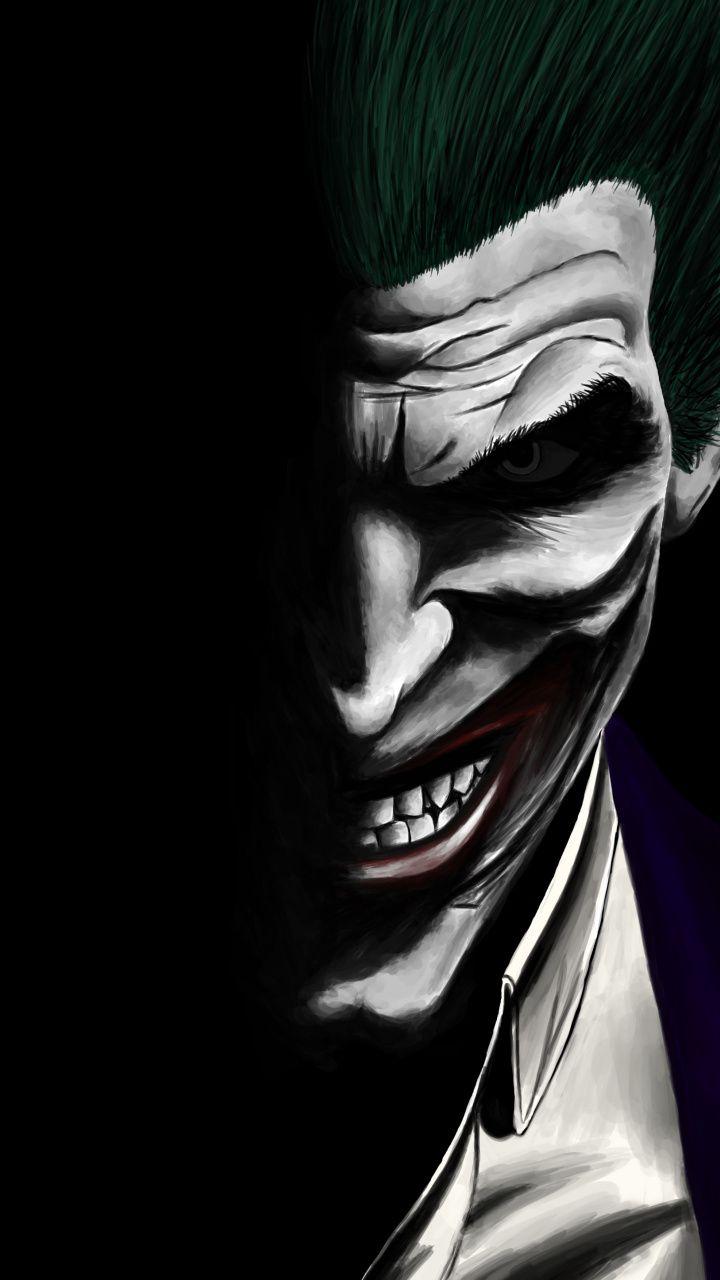Joker, dark, dc comics, villain, artwork, 720x1280 wallpaper