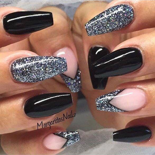 Black & silver | nails | Pinterest | Black, Prom nails and Black nails