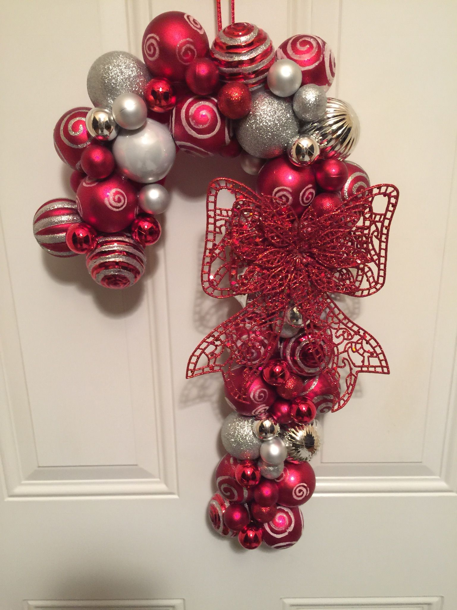 Candy Cane Ornament Wreath All From Dollar Tree Ornament Wreath
