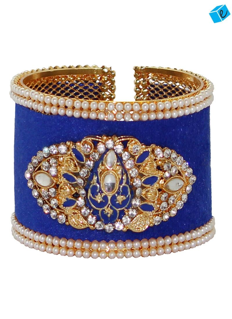 Blue color austrian diamond beads with kundan kada bangles pinterest