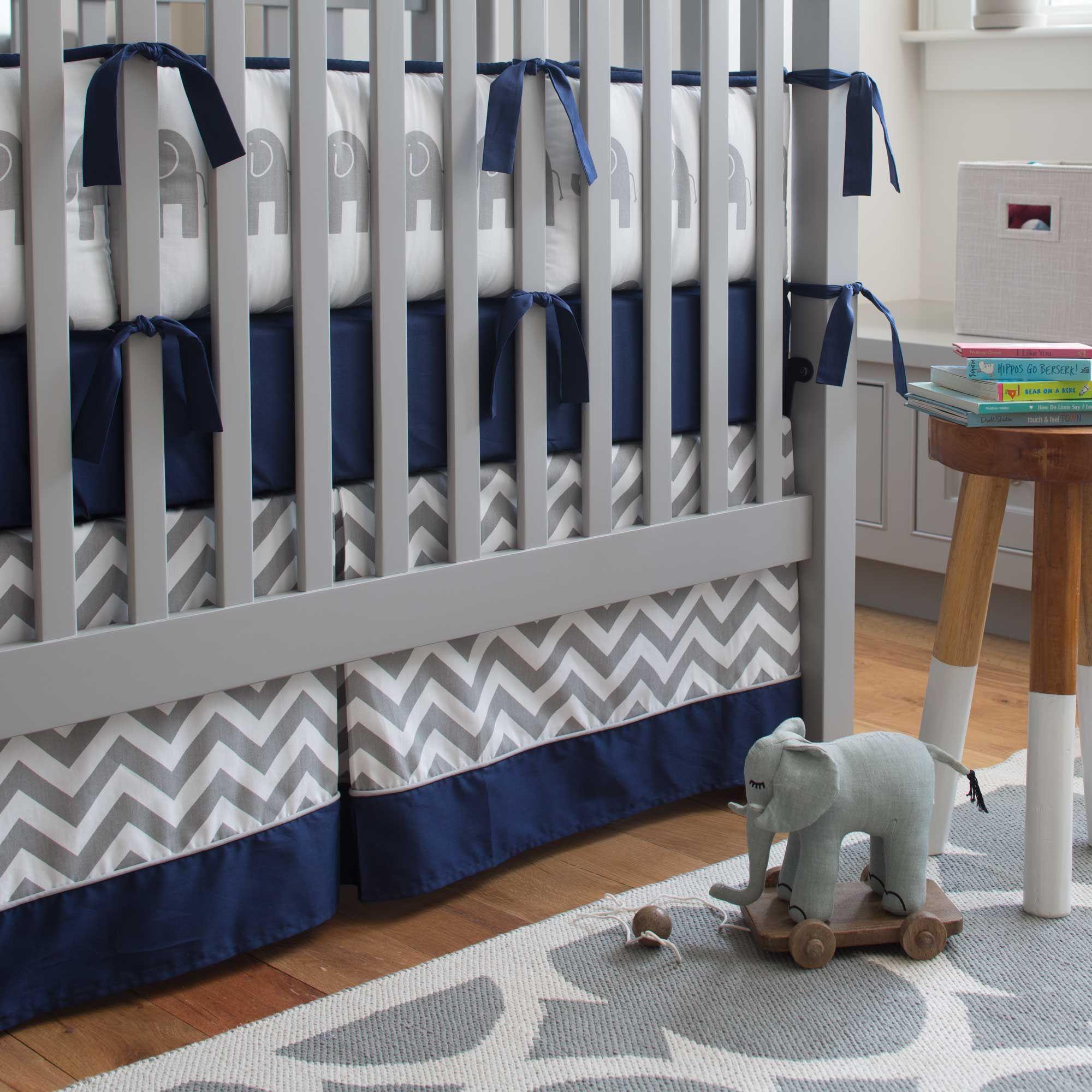 Navy and Gray Elephants Baby Crib Bedding