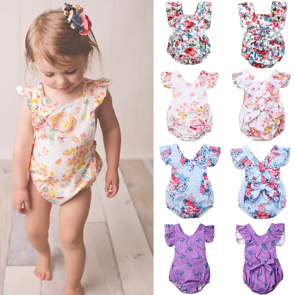 US Newborn Baby Kids Girls Fly Sleeve Romper Jumpsuit Bodysuit Outfits Summer