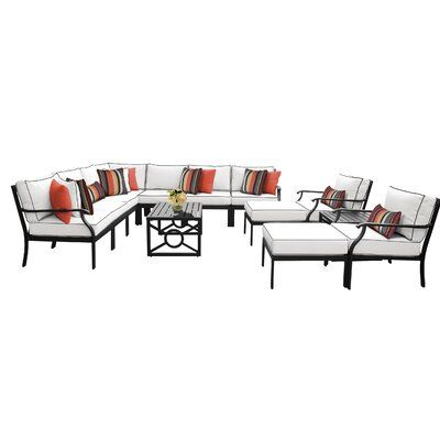 Kathy Ireland Home & Gardens by TK Classics Kathy Ireland Homes & Gardens Madison Ave. 13 Piece Outdoor Wicker Patio Furniture Set 13a Cushion Color: