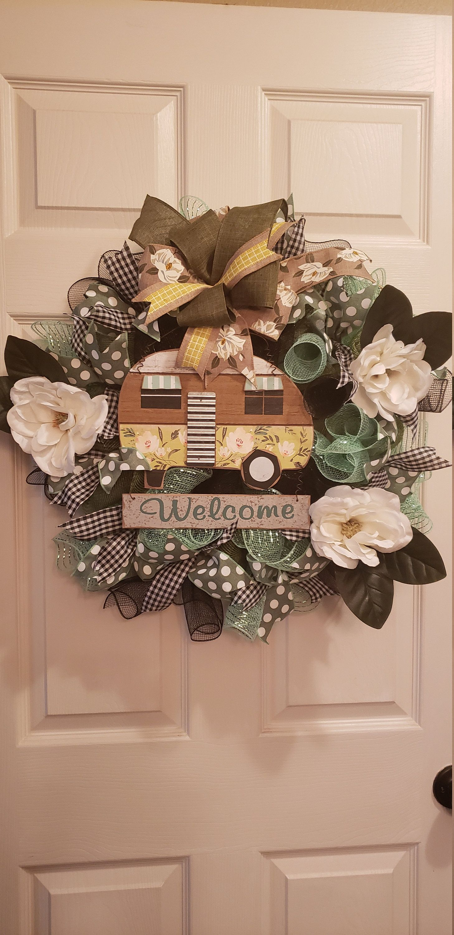 Photo of Camper wreath, mesh wreath, magnolia wreath, best decor, home away from home decor