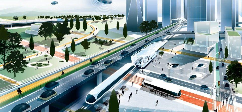 Concepção artística mostra os sistemas de transporte do futuro (Foto: Reprodução)