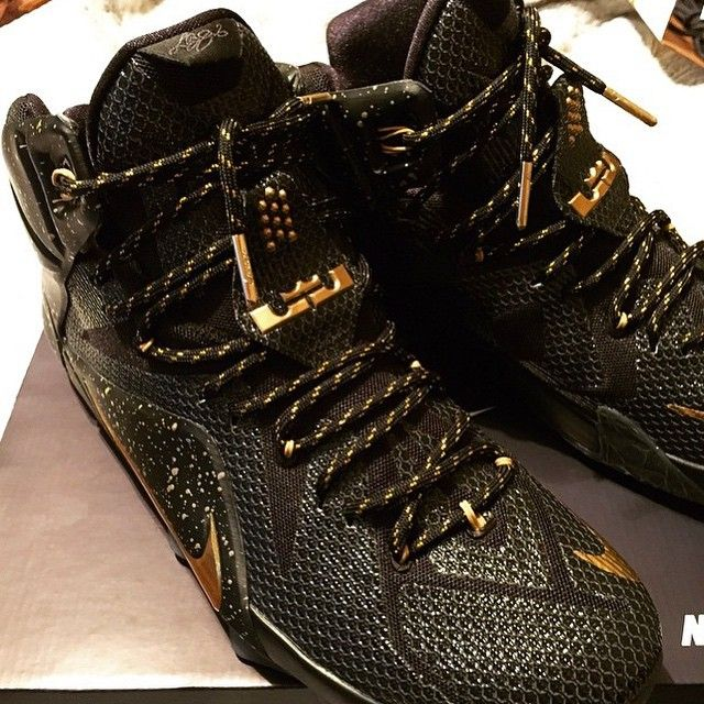 sale retailer a1ef8 86bc4 Lebron 12 ID Black Gold Thread Lace Swap www.laceduplaecs ...