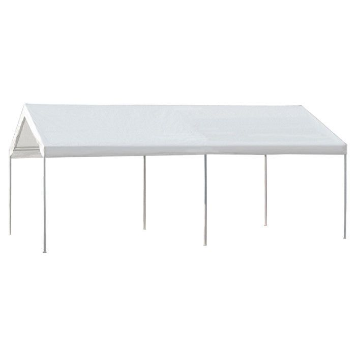 Portable Carport With Heavy-Duty Grade Steel Frame With White Canopy ...