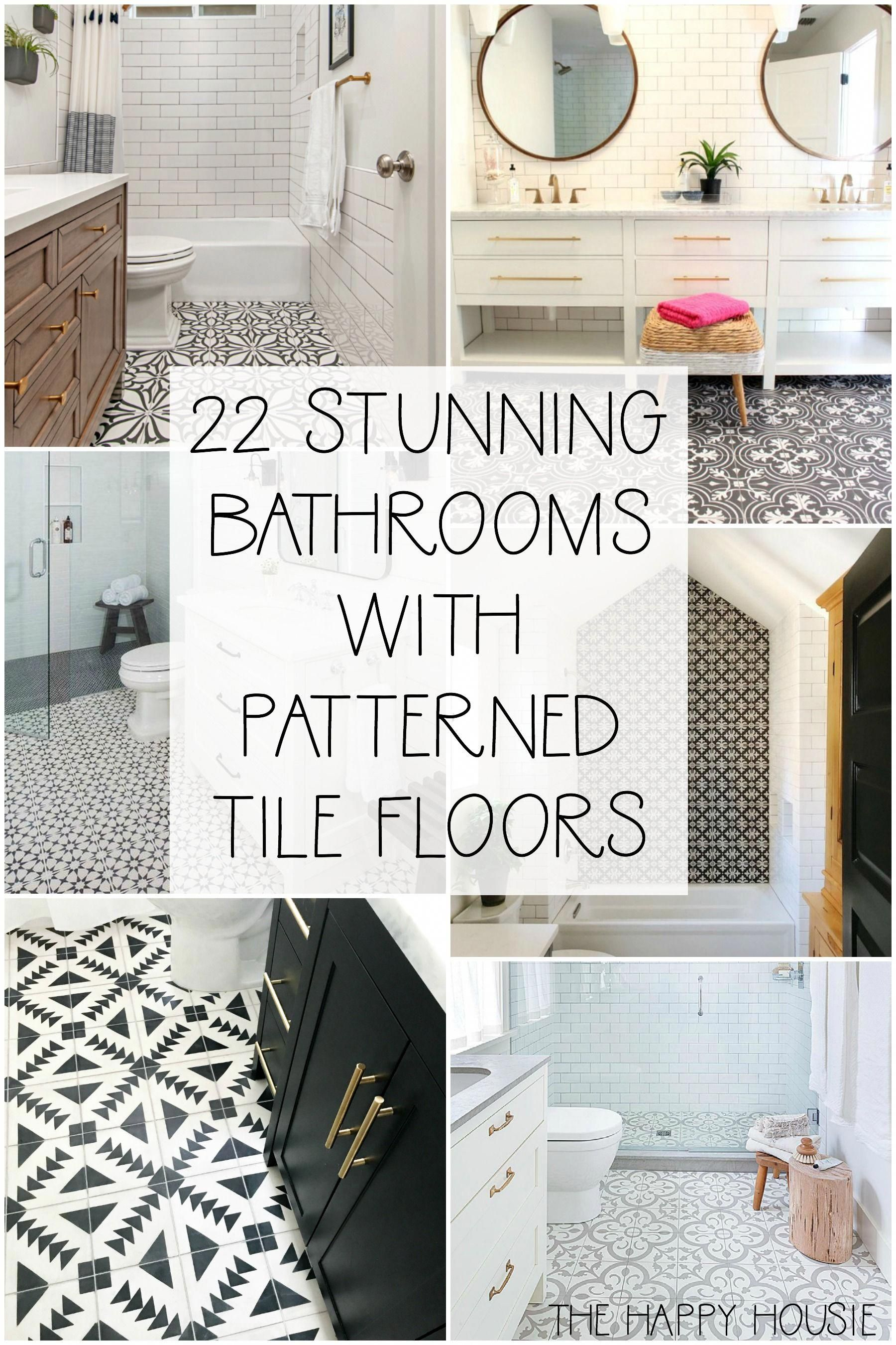 Cement Tile Patterned Tile Floors In The Bathroom The Happy Housie Patterned Floor Tiles Patterned Bathroom Tiles Bathroom Interior Design
