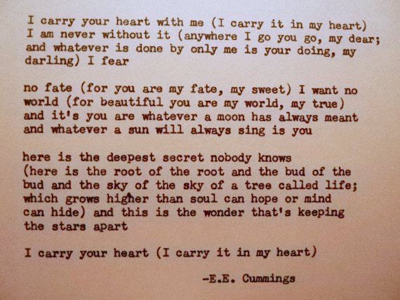 Ee Cummings I Carry Your Heart Poem Typed On Typewriter I Carry