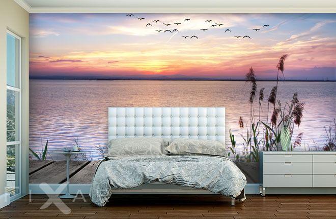 Romatischer Sonnenuntergang - Fototapete für Schlafzimmer ...