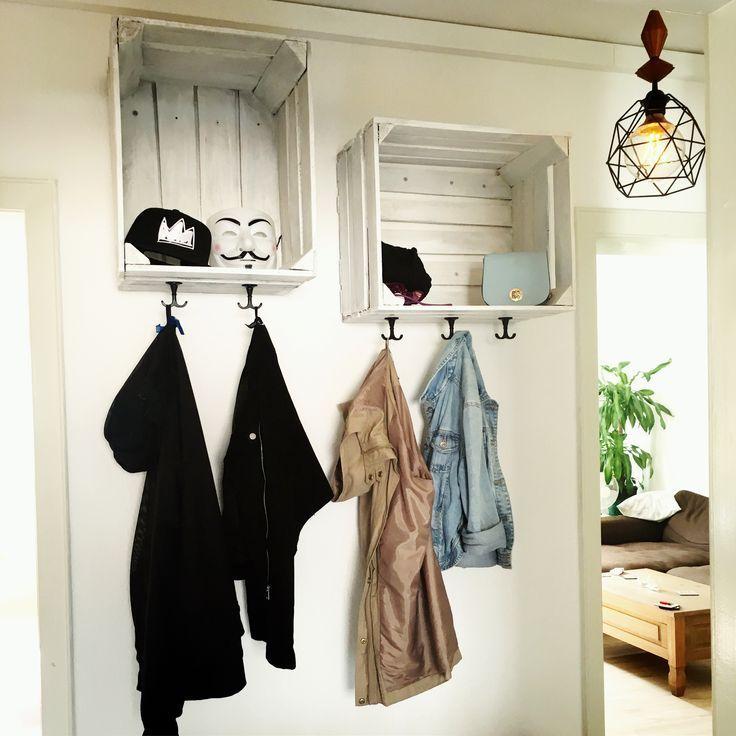 DIY wardrobe made of wine boxes #boxes #wardrobe