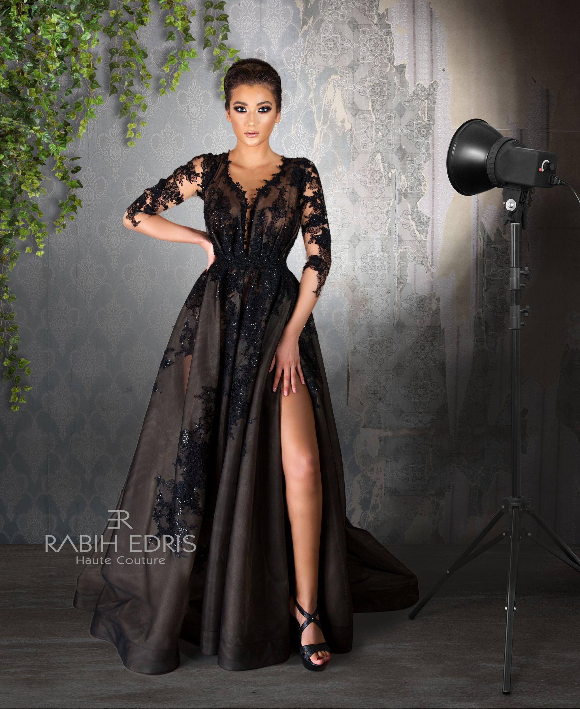 Evening Dress Glamorous Black Rabih Edris Ss2018 Evening Dresses Dresses Fashion [ 2502 x 2048 Pixel ]